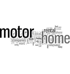 How to find motor home rentals vector