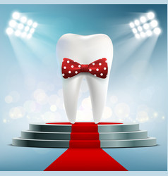 Human white tooth with red bow tie vector