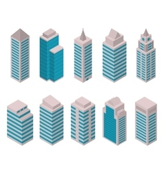 Isometric set of tall buildings vector image