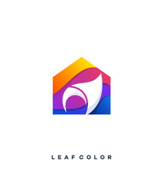 leaf house design template vector image