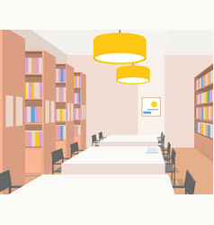 Library interior with furniture perspective view vector
