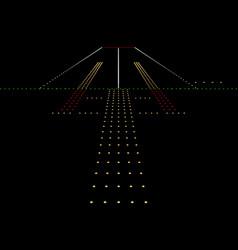 Luminous night landing lights Airport vector
