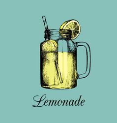 mason jar isolated home made lemonade with vector image