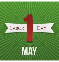 May 1 Paper Banner with Ribbon Labor Day vector image