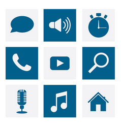 multimedia set icons vector image