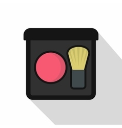 Pink blush with a brush icon flat style vector image