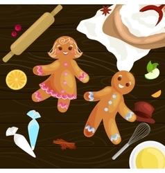 Process of preparing Christmas treats and sweets vector