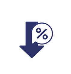 Profit decrease icon on white vector