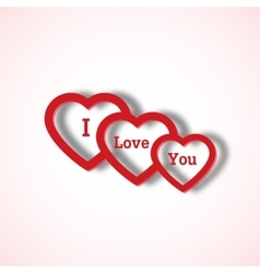 Red paper hearts Valentines day card on white vector