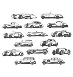 retro cars set vintage classic antique auto models vector image