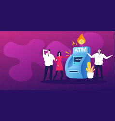 Sad businesspeople near atm machine with flaming vector
