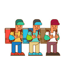schoolboy set boy and big schoolbag for september vector image