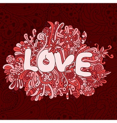 Seamless love texture with abstract flowers vector