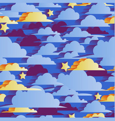 seamless pattern with blue and yellow clouds drawn vector image