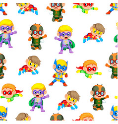 seamless pattern with children uses the super hero vector image