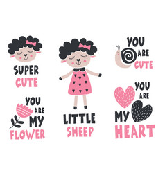 set isolated little sheep snail flower heart vector image