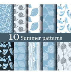 Set of 10 summer seamless patterns vector