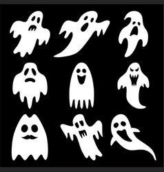 set of halloween ghosts isolated on background vector image