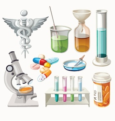 Set of supplies used in pharmacology vector