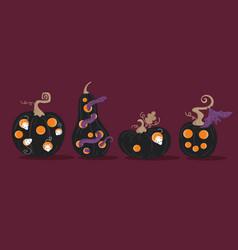 Set scary halloween pumpkins jackolanterns vector