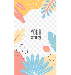 stories floral cover bright tropical palm leaves vector image