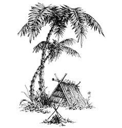 Summer camp sketch vector
