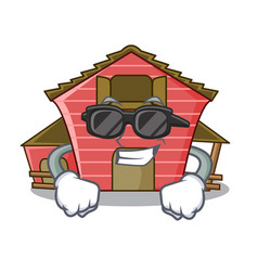 Super cool a red barn house character cartoon vector