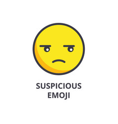 suspicious emoji line icon sign vector image