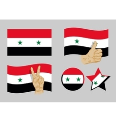 Syria flag icons set vector