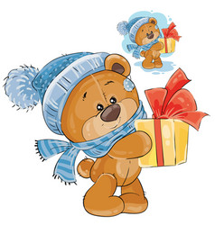 Teddy bear in a knitted cap and scarf vector