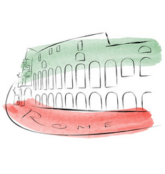 the colosseum is painted in watercolors in vector image