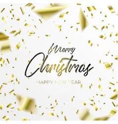 the writing christmas and falling gold confetti vector image