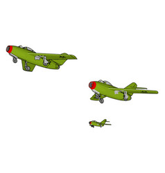 Three green air force jets on white background vector