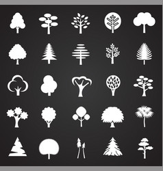Trees icon set on black background for graphic and vector