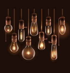 Vintage glowing light bulbs icon set vector