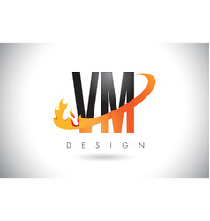 vm v m letter logo with fire flames design and vector image