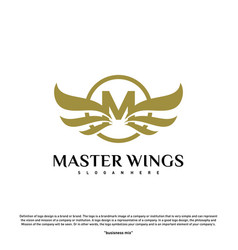 wings m letter logo initial m wings logo template vector image
