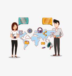 woman and man chatting world social media vector image