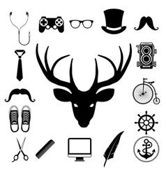 Hipster retro vintage elements icon set vector image vector image