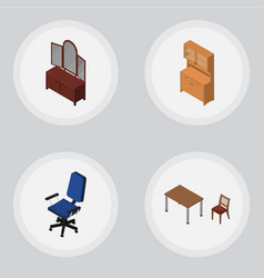 Isometric furniture set of drawer office vector