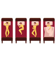 man sleeping in bed lying on back side top view vector image
