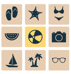 sun icons set collection of star trees ship and vector image