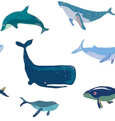 Whales seamless pattern graphic handdrawn vector image