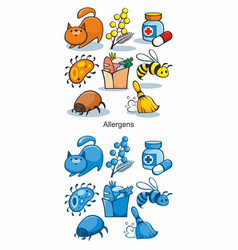 cartoon allergen icons set vector image vector image