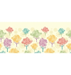 Colorful abstract trees horizontal seamless vector image vector image