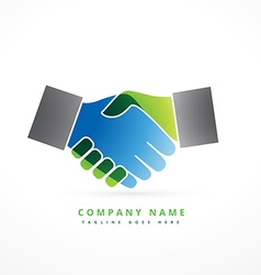 hand shaking colorful company symbol design vector image vector image