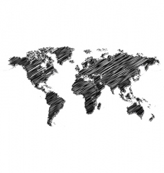scribbled world map vector image