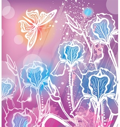 background with flowers iris vector image vector image