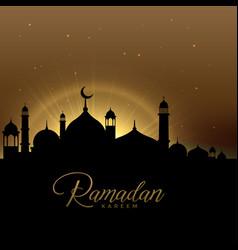 beautiful ramadan kareem scene with glowing mosque vector image vector image