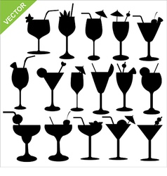 cocktail silhouettes vector image vector image